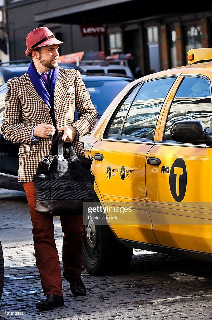 Guests seen arriving to the Perry Ellis by Duckie Brown show on February 12, 2013 in New York City.