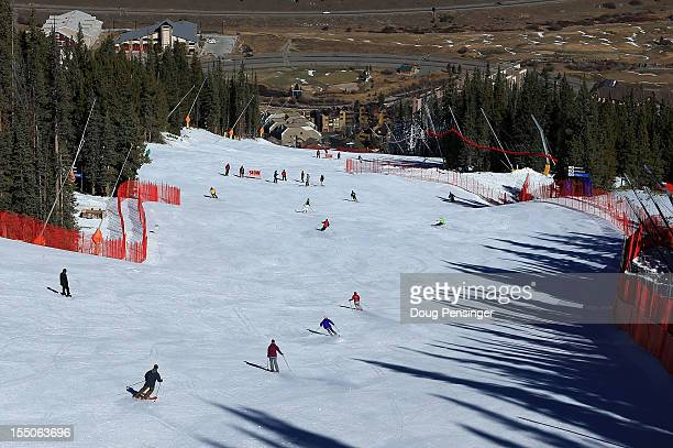 Guests ski the downhill course with members of the US Ski Team as they host a tour of the US Ski Team Speed Center at Copper on October 31 2012 in...