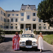 Guests standing by a white RollsRoyce convertible courtesy car at the Hotel du CapEdenRoc Antibes France August 1976