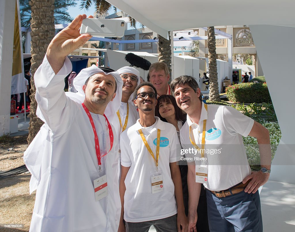 Guests take a selfie during The UAE AI & Robotics Award for Good at Dubai Internet City on February 6, 2016 in Dubai, United Arab Emirates where the winners of the USD 1 million international competition and the AED 1 million national competition will be announced.