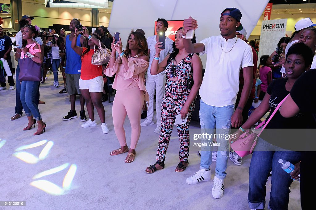 Guests take picture during FAN FEST during the 2016 BET Experience on June 25, 2016 in Los Angeles, California.