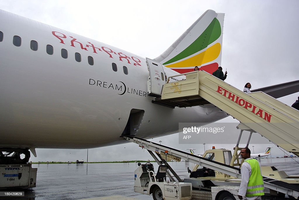 Guests tour the Boeing 787 Dreamliner on arrival in Addis Ababa on August 17 2012 Ethiopian Airlines received Africa's first Boeing 787 Dreamliner on...