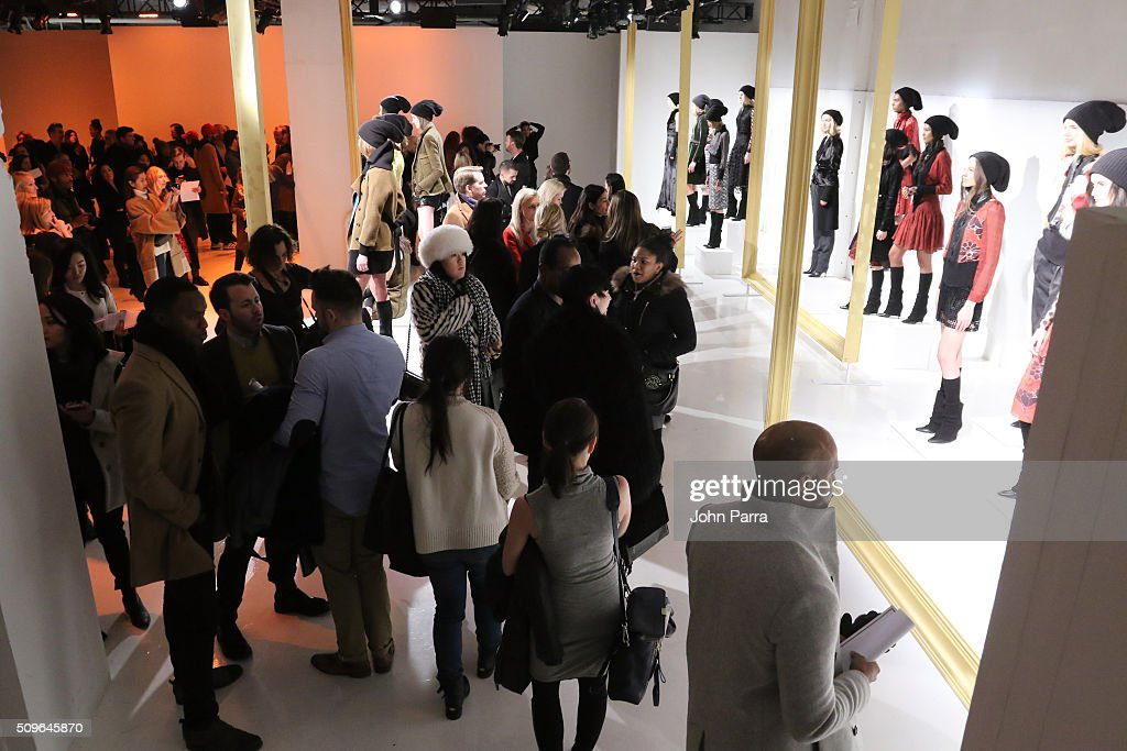 Guests view models posing during the Hanley - Presentation at The Space, Skylight at Clarkson Sq on February 11, 2016 in New York City.