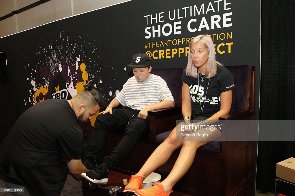 Guests visit the Crep Protect stand at SneakerCon presented by Sprite, Rush Card, & FDA during the 2016 BET Experience at Los Angeles Convention Center on June 25, 2016 in Los Angeles, California.