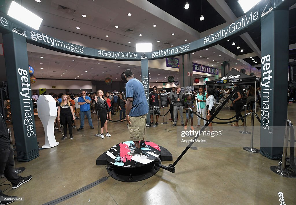 Guests visit the Getty Images booth at FAN FEST during the 2016 BET Experience on June 25, 2016 in Los Angeles, California.