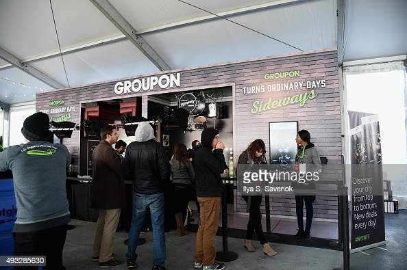 Guests visit the Groupon station at Meatopia hosted by Michael Symon Food Network Cooking Channel New York City Wine Food Festival presented by FOOD...