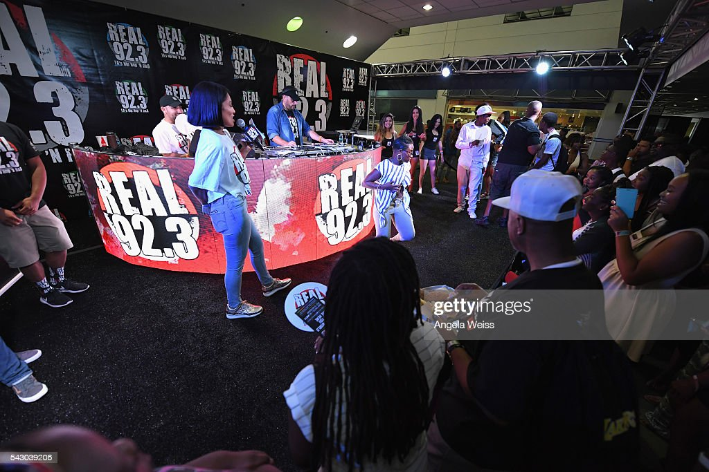 Guests visit the Real 92.3 FM booth at FAN FEST during the 2016 BET Experience on June 25, 2016 in Los Angeles, California.