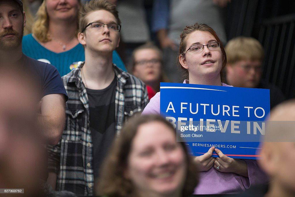 Guests wait for the arrival of Democratic presidential candidate Senator Bernie Sanders (D-VT) at a campaign event on the campus of Indiana University - Purdue University Fort Wayne May 2, 2016 in Fort Wayne, Indiana. Voters in Indiana go to the polls tomorrow for the state's primary.