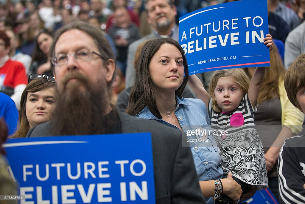 Guests wait for the arrival of Democratic presidential candidate Sen. Bernie Sanders (D-VT) at a campaign event on the campus of Indiana University - Purdue University Fort Wayne May 2, 2016 in Fort Wayne, Indiana. Voters in Indiana go to the polls tomorrow for the state's primary.