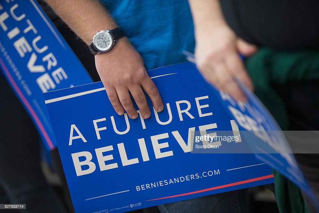 Guests wait for the arrival of Democratic presidential candidate Sen. <a gi-track='captionPersonalityLinkClicked' href=/galleries/search?phrase=Bernie+Sanders&family=editorial&specificpeople=2908340 ng-click='$event.stopPropagation()'>Bernie Sanders</a> (D-VT) at a campaign event on the campus of Indiana University - Purdue University Fort Wayne May 2, 2016 in Fort Wayne, Indiana. Voters in Indiana go to the polls tomorrow for the state's primary.