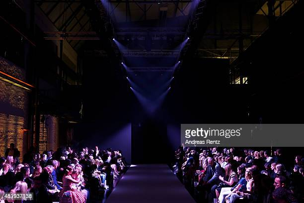 Guests wait for the runway shows to start at the Platform Fashion Selected show during Platform Fashion July 2015 at Areal Boehler on July 25 2015 in...