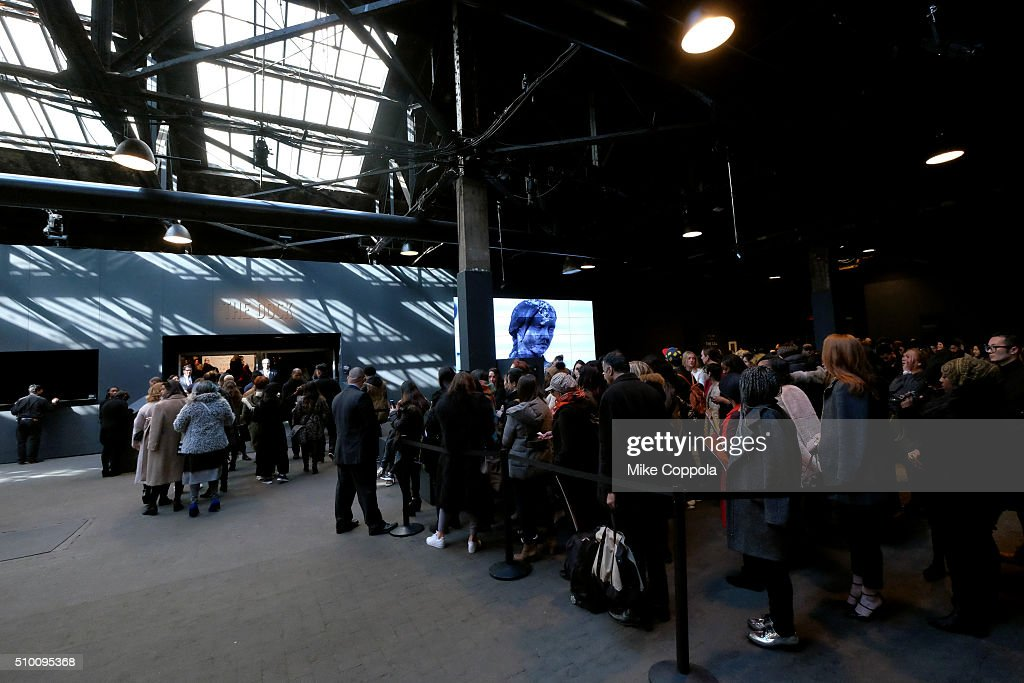 Guests wait in the lobby during Day 3 of New York Fashion Week: The Shows at Skylight at Moynihan Station on February 13, 2016 in New York City.
