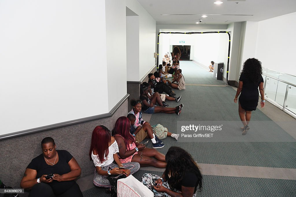 Guests wait to enter the MTV Wild N Out live show during the 2016 BET Experience on June 25, 2016 in Los Angeles, California.