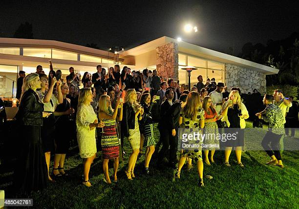 Guests watch Bastille perform during Launch Of CHOO08 hosted by Jimmy Choo's Sandra Choi on April 15 2014 in Beverly Hills California