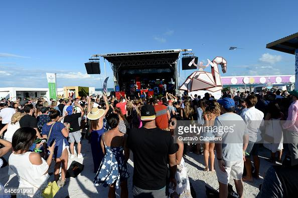 Guests watch DJ Sebastian Ingrosso perform live at Goya Foods' Grand Tasting Village Featuring Mastercard Grand Tasting Tents KitchenAid Culinary...