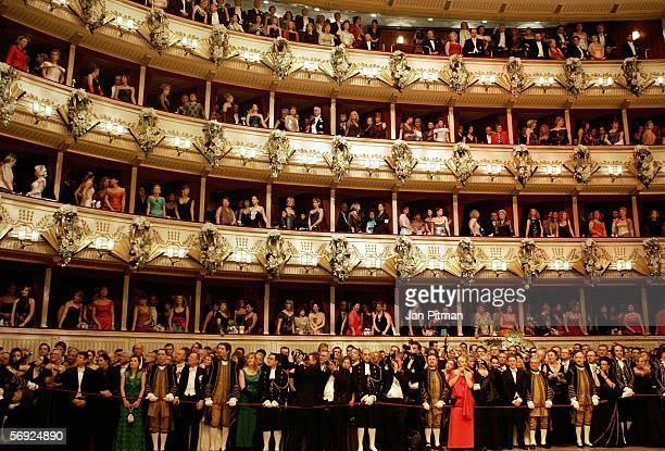 Guests watch the opening ceremony at the annual 'Vienna Opera Ball' at the Vienna State Opera on February 23 2006 in Vienna Austria This major...