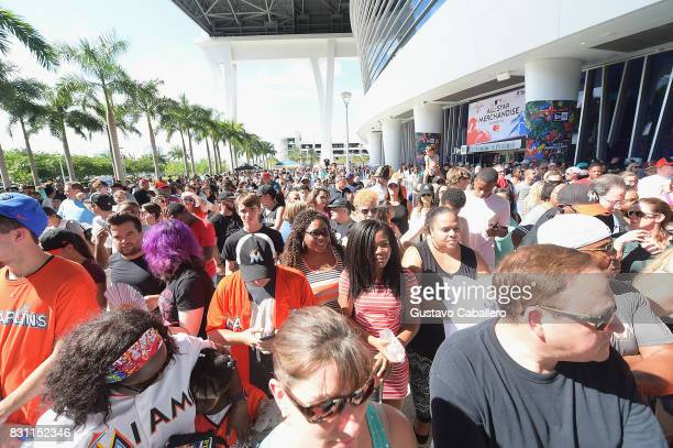 Guests watch the SaltNPepa performance at The Crystal Pepsi Throwback Tour At Marlin's Park on August 13 2017 in Miami Florida