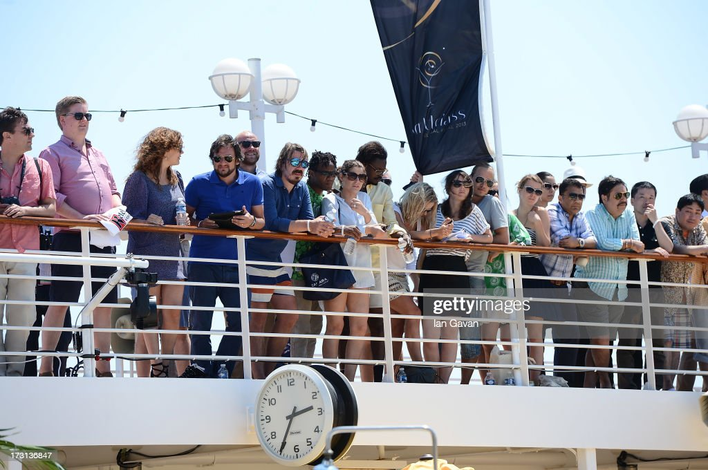 Guests watch the Top 16 Elimination on day 4 of the DIAGEO RESERVE WORLD CLASS Global Final on July 7, 2013 in at Sea.