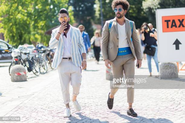 Guests wearing brown suit striped jacket polo shirt is seen during Pitti Immagine Uomo 92 at Fortezza Da Basso on June 13 2017 in Florence Italy