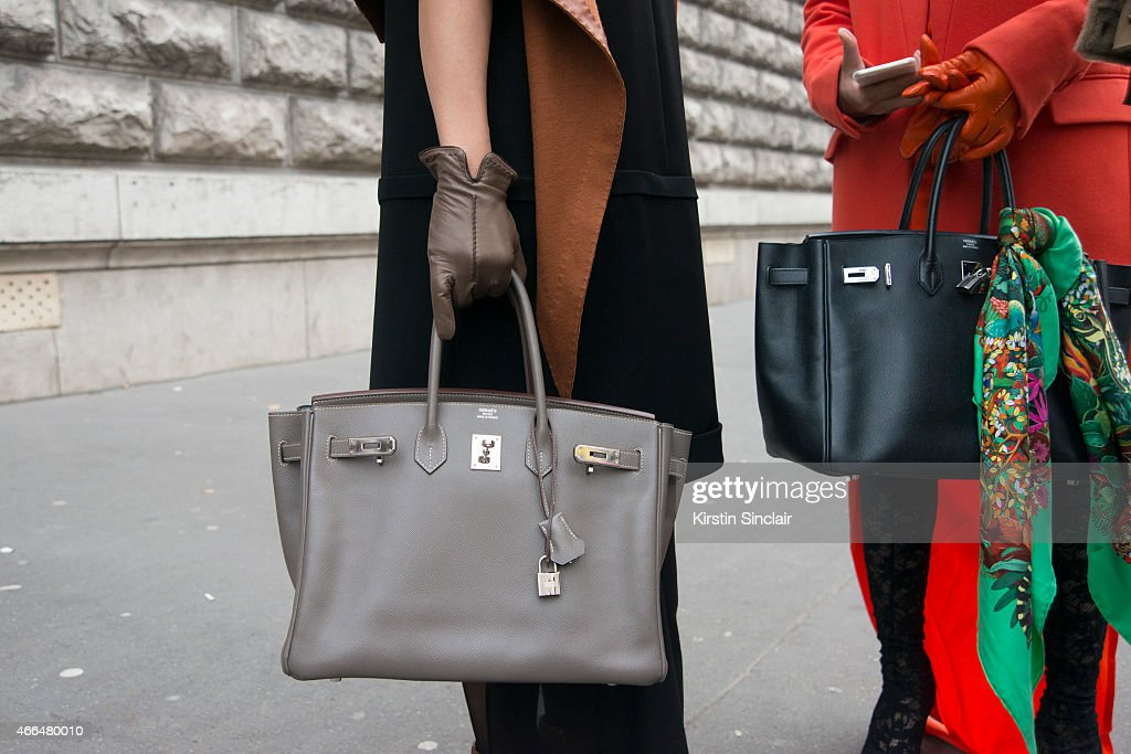 Guests with Hermes bags on day 7 of Paris Collections Women on March 09 2015 in Paris France