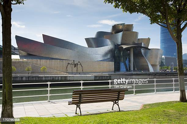 Guggenheim Museum by architect Frank Gehry futuristic architectural design in titanium and glass at Bilbao Basque country Spain