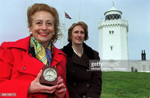 Guglielmo Marconi's daughter Princess Elletra Marconi and female engineer of the year Kim Dennis at the South Foreland Lighthouse in Dover to mark...