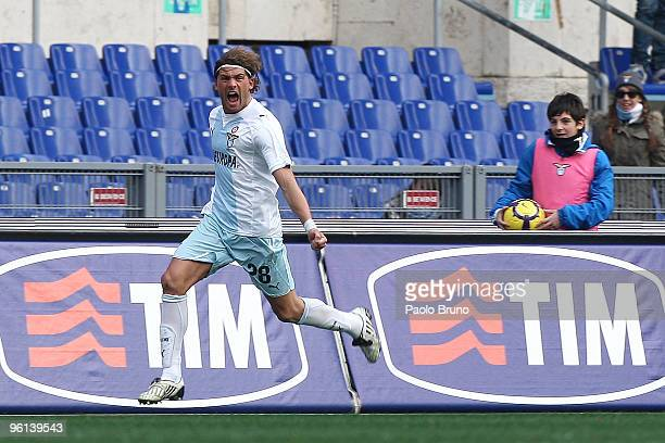 Guglielmo Stendardo of SS Lazio celebrates the opening goal during the Serie A match between Lazio and Chievo at Stadio Olimpico on January 24 2010...