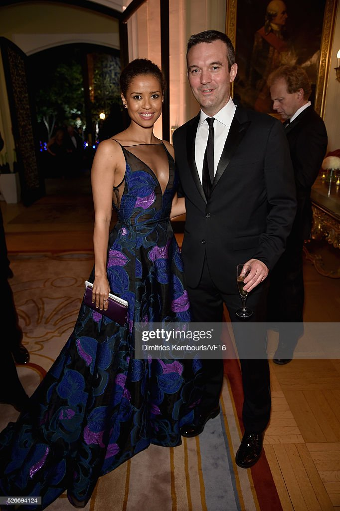 Gugu Mbatha-Raw and Mike Hogan attend the Bloomberg & Vanity Fair cocktail reception following the 2015 WHCA Dinner at the residence of the French Ambassador on April 30, 2016 in Washington, DC.
