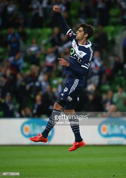 Gui Finkler of the Victory celebrates after he scored during the round 23 ALeague match between the Melbourne Victory and the Central Coast Mariners...