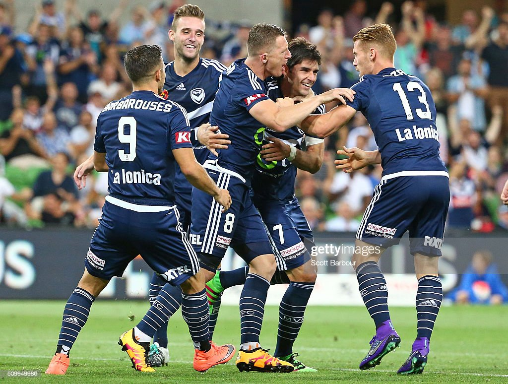 Gui Finkler of the Victory celebrates after scoring his sides second goal during the round 19 A-League match between Melbourne City FC and Melbourne Victory at AAMI Park on February 13, 2016 in Melbourne, Australia.