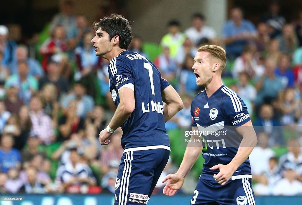 Gui Finkler of the Victory watches as his free kick went over the goal line but the goal was not allowed during the round 19 A-League match between Melbourne City FC and Melbourne Victory at AAMI Park on February 13, 2016 in Melbourne, Australia.