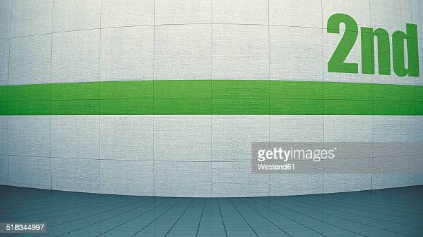Guidance system on concrete wall, 3D Rendering
