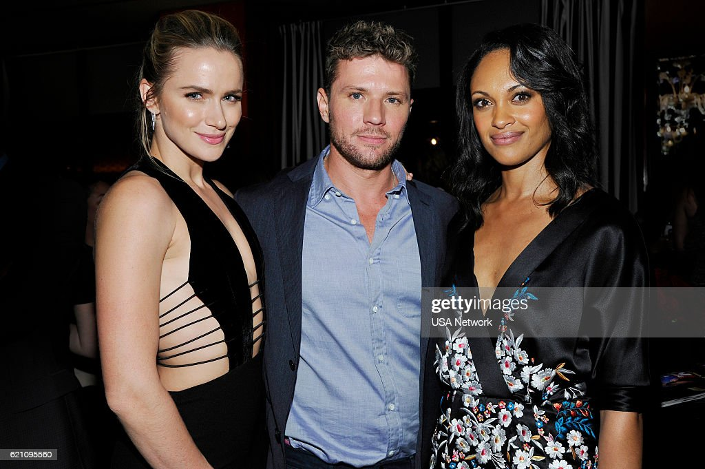Guide Cover Party for USA Network's SHOOTER -- Pictured: (l-r) Shantel VanSanten, Ryan Phillippe, Cynthia Addai-Robbinson --