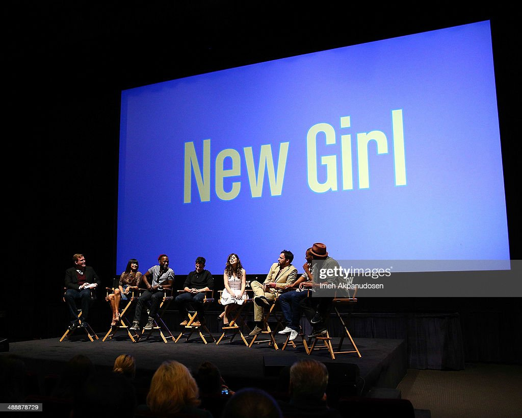 TV Guide's Rob Moynihan interviews actors Hannah Simone, Lamorne Morris, Max Greenfield, Zooey Deschanel, Jake Johnson, Damon Wayans Jr., and executive producer Dave Finkel onstage at the 'New Girl' Season 3 Finale Screening and cast Q&A at Zanuck Theater at 20th Century Fox Lot on May 8, 2014 in Los Angeles, California.