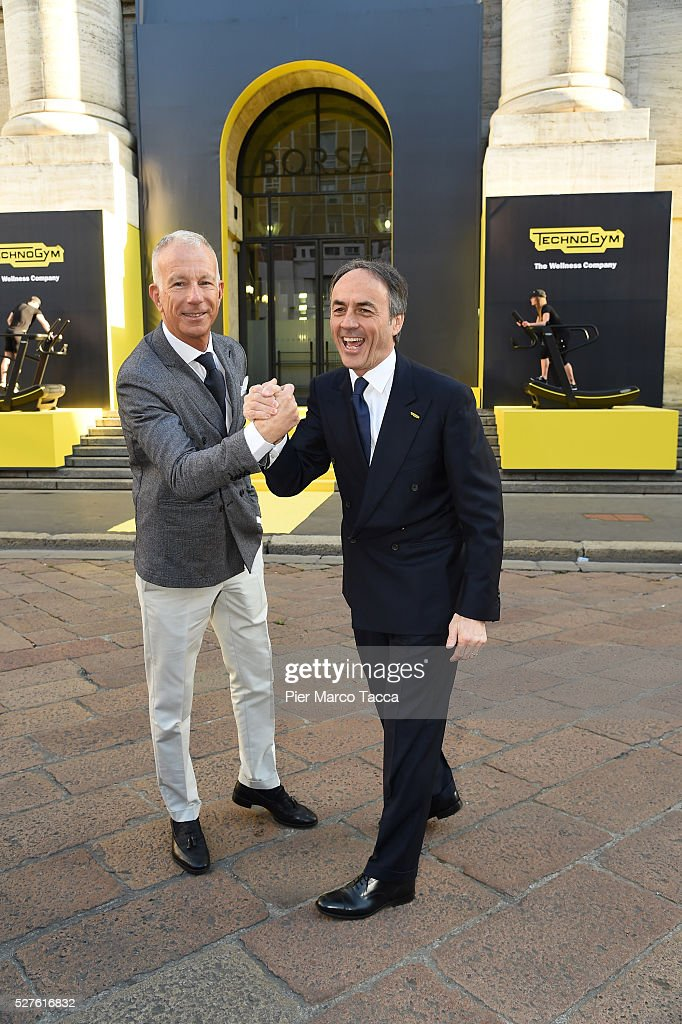 Guido Bagatta and Nerio Alessandri attend the Technogym Listing Ceremony at Palazzo Mezzanotte on May 3, 2016 in Milan, Italy. Technogym is the world leader in the construction of equipment for gyms, founded in 1983 by Nerio Alessandri, and was listed today on the Milan Stock Exchange.