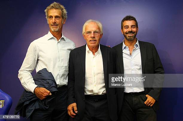 Guido Barilla Nevio Scala and Marco Ferrari of Parma Calcio 1913 speaks to the media during a press conference at Stadio Tardini on July 1 2015 in...