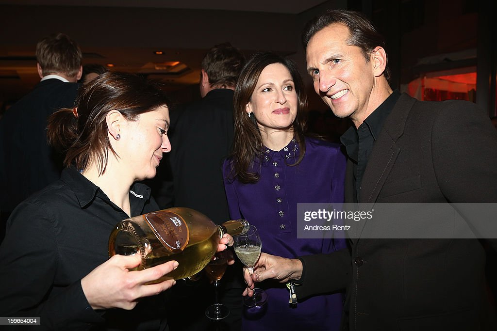 Guido Boehler and Melanie Pannenbecker (Prada) attend GQ Best Dressed cocktail at Das Stue hotel on January 17, 2013 in Berlin, Germany.
