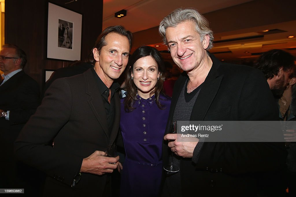 Guido Boehler, Melanie Pannenbecker (Prada) and Dominic Raacke attend GQ Best Dressed cocktail at Das Stue hotel on January 17, 2013 in Berlin, Germany.