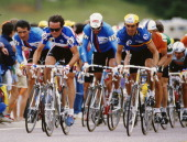 Guido Bontempi Bernard Hinault of France and Gianbattista Baronchelli of Italy during the Road Cycling World Championships on 6th September 1986 in...