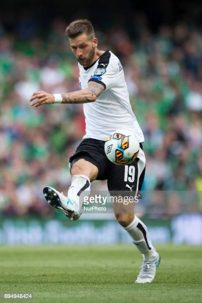 Guido Burgstaller of Austria controls the ball during the FIFA World Cup 2018 Qualifying Round Group D match between Republic of Ireland and Austria...