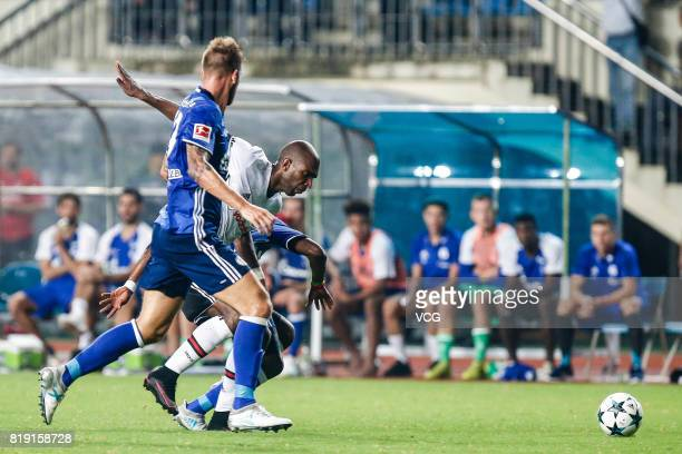 Guido Burgstaller of FC Schalke 04 and Ryan Babel of Besiktas comepte for the ball during the 2017 International soccer match between Schalke 04 and...