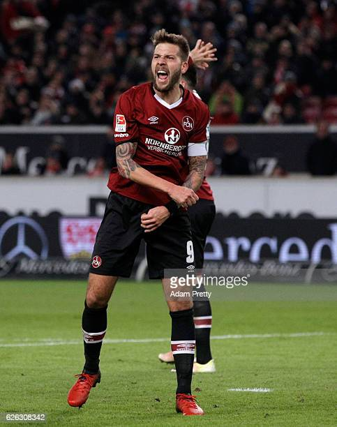 Guido Burgstaller of Nuernberg reacts after scoring a disallowed goal during the Second Bundesliga match between VfB Stuttgart and 1 FC Nuernberg at...