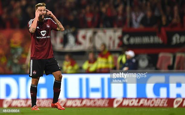 Guido Burgstaller of Nuernberg reacts after scoring his teams first goal during the second Bundesliga match between 1 FC Nuernberg and TSV 1860...