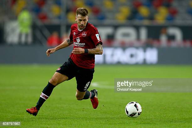 Guido Burgstaller of Nuernberg runs with the ball during the Second Bundesliga match between Fortuna Duesseldorf and 1 FC Nuernberg at EspritArena on...