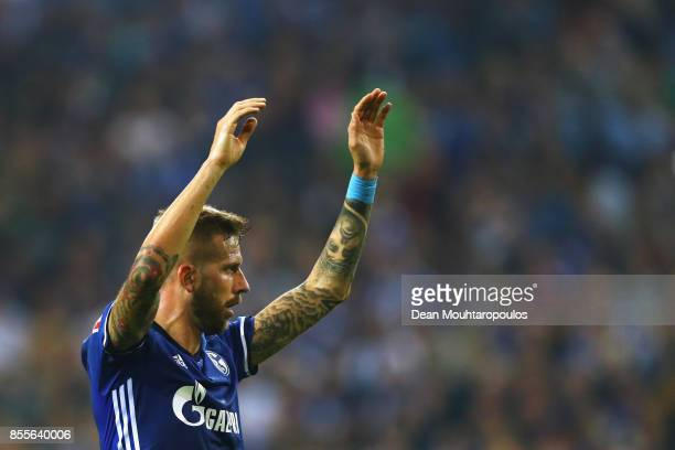 Guido Burgstaller of Schalke 04 reacts to a missed chance on goal during the Bundesliga match between FC Schalke 04 and Bayer 04 Leverkusen at...