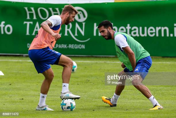 Guido Burgstaller of Schalke and Pablo Insua of Schalke battle for the ball during the Training Camp of FC Schalke 04 on July 27 2017 in Mittersill...