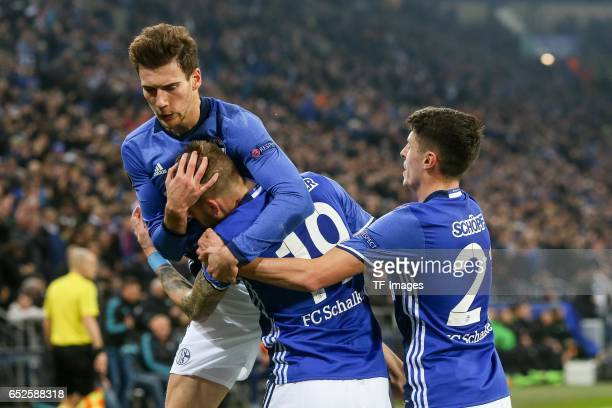 Guido Burgstaller of Schalke celebrates after scoring a goa during the UEFA Europa League Round of 16 first leg match between FC Schalke 04 and...