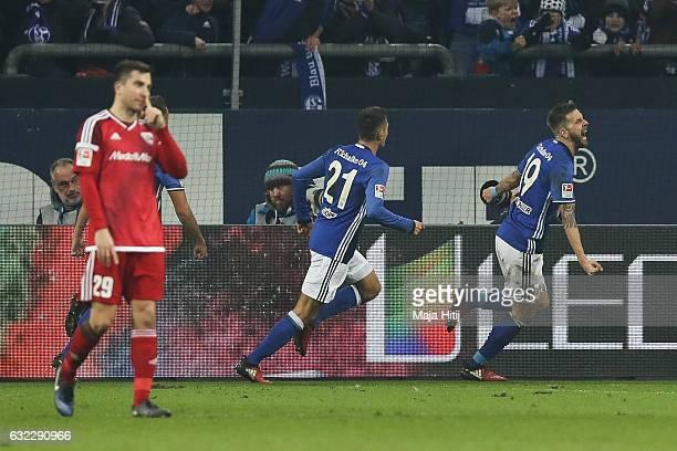 Guido Burgstaller of Schalke celebrates after scoring a goal to make it 10 during the Bundesliga match between FC Schalke 04 and FC Ingolstadt 04 at...