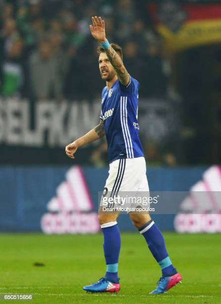 Guido Burgstaller of Schalke celebrates as he scores their first and equalising goal during the UEFA Europa League Round of 16 first leg match...
