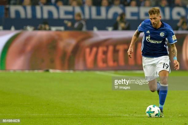 Guido Burgstaller of Schalke controls the ball controls the ball during the Bundesliga match between FC Schalke 04 and FC Bayern Muenchen at...